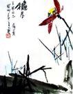 秋晨3,潘天寿,中国近代大师名画,