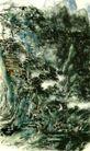 设色山水10,黄宾虹,中国近代大师名画,
