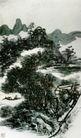 设色山水24,黄宾虹,中国近代大师名画,水畔 小屋 孤舟