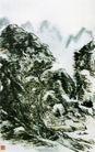 设色山水33,黄宾虹,中国近代大师名画,