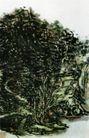 设色山水36,黄宾虹,中国近代大师名画,