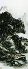 设色山水6,黄宾虹,中国近代大师名画,山脚 房屋 景色