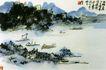 设色山水图册3,黄宾虹,中国近代大师名画,湖面 扁舟 风光