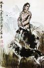 牧羊人,黄胄,中国近代大师名画,