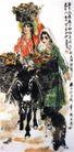 石榴熟了,黄胄,中国近代大师名画,黑色 毛驴 运载