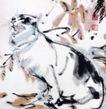 秋叶花猫,黄胄,中国近代大师名画,黑猫 昂头 鸣叫