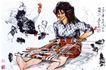 织花裙,黄胄,中国近代大师名画,乡村 农妇 编织