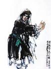 维族舞,黄胄,中国近代大师名画,俯身 跳舞 素服