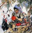 花帽子阿拉古丽,黄胄,中国近代大师名画,农妇 鸡群 鞋垫