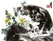 花猫,黄胄,中国近代大师名画,猫咪 眼睛 野花