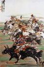 赛牛,黄胄,中国近代大师名画,牧民 骑马 比赛