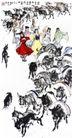 迎良种,黄胄,中国近代大师名画,孩子 羊群 放养