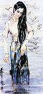 长发女,黄胄,中国近代大师名画,