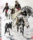 雪地驴驮,黄胄,中国近代大师名画,