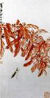 花虫,齐白石,中国近代大师名画,黄叶 螳螂 捕食