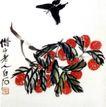 荔枝,齐白石,中国近代大师名画,红色 果枝 黑蝶