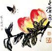 蝴蝶寿桃,齐白石,中国近代大师名画,黑蝴蝶