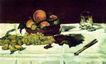 静物油画0005,静物油画,国外传世名画,葡萄 筷子 摊桌