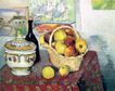 静物油画0006,静物油画,国外传世名画,竹篮 黄苹果 瓷瓶