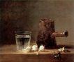 静物油画0013,静物油画,国外传世名画,水杯 大蒜 静物