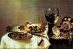 静物油画0014,静物油画,国外传世名画,面包 高脚杯 衬布