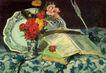 静物油画0017,静物油画,国外传世名画,鲜花 花纹 书本