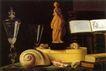 静物油画0020,静物油画,国外传世名画,裸鱼 塑像 桌面