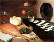 静物油画0021,静物油画,国外传世名画,乐器 花瓶 鲜花