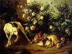 静物油画0023,静物油画,国外传世名画,猎狗 花朵 猎物
