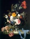 静物油画0027,静物油画,国外传世名画,花朵 植物 彩带