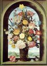 静物油画0028,静物油画,国外传世名画,窗口 拱形 鲜花
