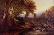 风景油画0179,风景油画,国外传世名画,原始森林 流淌的溪水 水中礁石