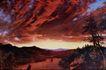 风景油画0182,风景油画,国外传世名画,云层 晚霞 山湖
