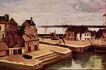 风景油画0183,风景油画,国外传世名画,风景 台阶 民宅