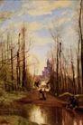 风景油画0199,风景油画,国外传世名画,树干林立