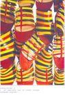 箱包皮鞋广告创意0090,箱包皮鞋广告创意,国际知名品牌广告创意,鞋子 彩虹色调 横条