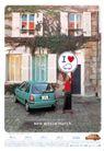 儿童用品0083,儿童用品,经典广告设计,居民区 小汽车 举牌