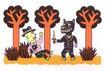 王翰尼作品集0096,王翰尼作品集,世界设计名家,森林 树木 大灰狼