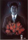 信息通讯用品0008,信息通讯用品,中国广告作品年鉴2006,微笑 玫瑰花 波纹 西装革履 牛角 倾听