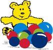 动物拟人化卡通0031,动物拟人化卡通,拟人卡通,黄色小熊 彩球