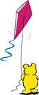 动物拟人化卡通0039,动物拟人化卡通,拟人卡通,放风筝的小熊