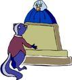 动物拟人化卡通0049,动物拟人化卡通,拟人卡通,一只鹰 松鼠