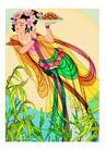 中秋嫦娥0001,中秋嫦娥,彩绘人物情景模板,月圆 嫦娥 飞翔 美女 月饼 宫纱