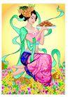 中秋嫦娥0010,中秋嫦娥,彩绘人物情景模板,凝视 美味 花语 漂亮 沉思