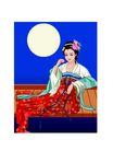 中秋嫦娥0013,中秋嫦娥,彩绘人物情景模板,夜色 思妇 品尝 少妇 忧伤