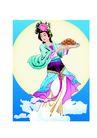 中秋嫦娥0016,中秋嫦娥,彩绘人物情景模板,家乡 香喷喷 面食 蓝天 美色