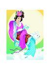 中秋嫦娥0017,中秋嫦娥,彩绘人物情景模板,多情 丝绸 皎兔 想你 神话