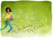 修饰背景0013,修饰背景,彩绘人物情景模板,涂鸦 浅绿 英文 采花 女孩