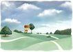 修饰背景0015,修饰背景,彩绘人物情景模板,小丘陵 树木 天空 白房子 小路