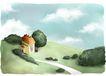 修饰背景0016,修饰背景,彩绘人物情景模板,回家 后院 美丽 图画 童话